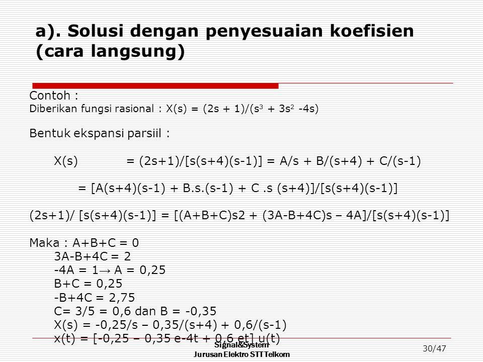 a). Solusi dengan penyesuaian koefisien (cara langsung)