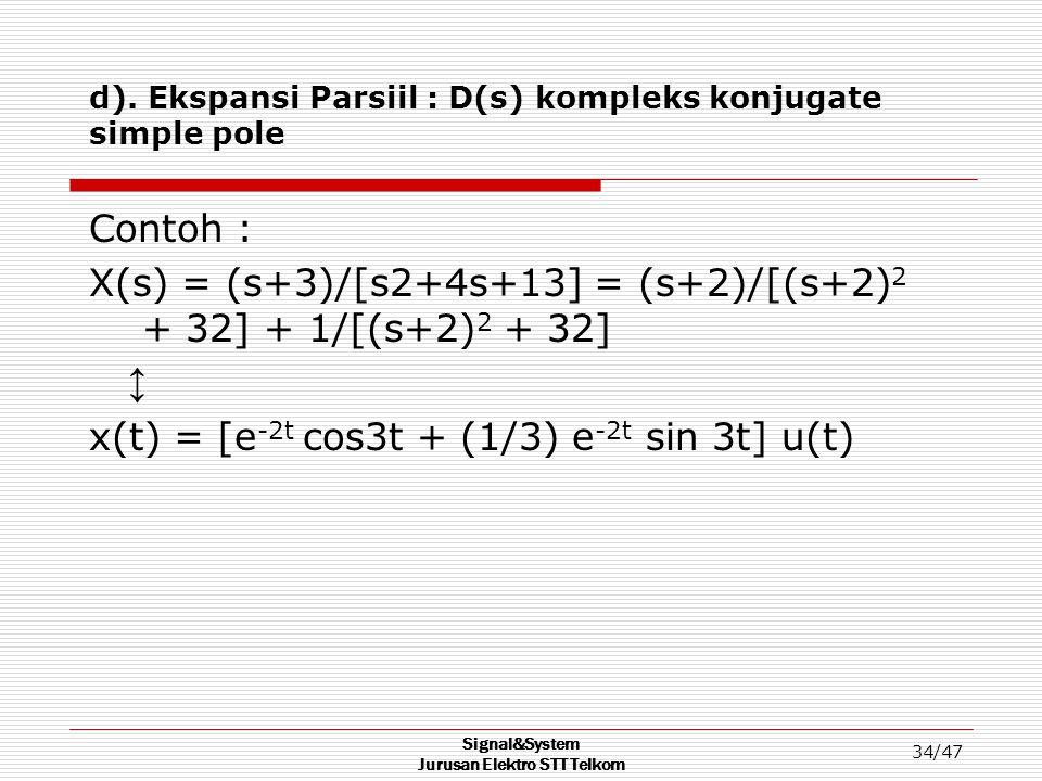 d). Ekspansi Parsiil : D(s) kompleks konjugate simple pole