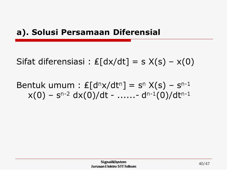 a). Solusi Persamaan Diferensial