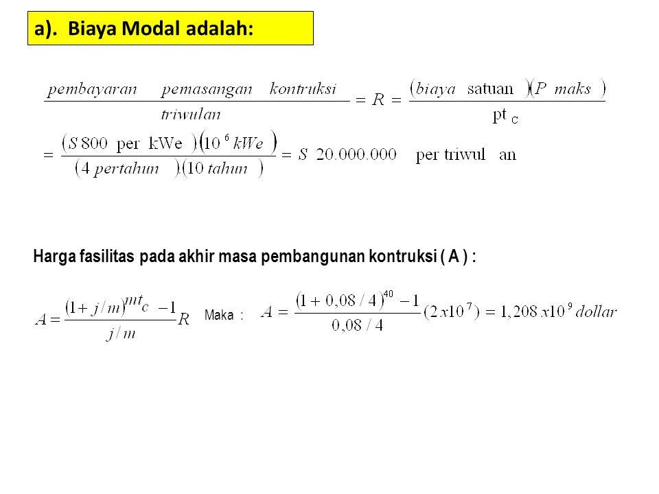 a). Biaya Modal adalah: Harga fasilitas pada akhir masa pembangunan kontruksi ( A ) : Maka :