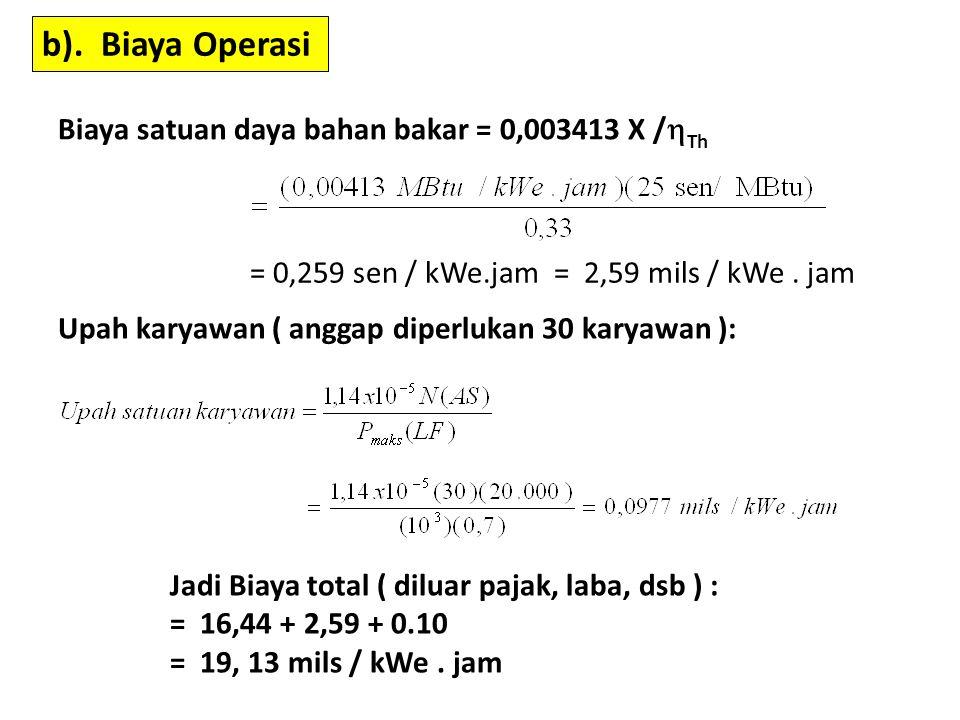 b). Biaya Operasi Biaya satuan daya bahan bakar = 0,003413 X /Th