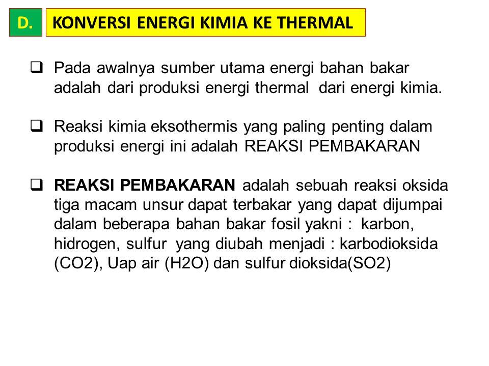 KONVERSI ENERGI KIMIA KE THERMAL