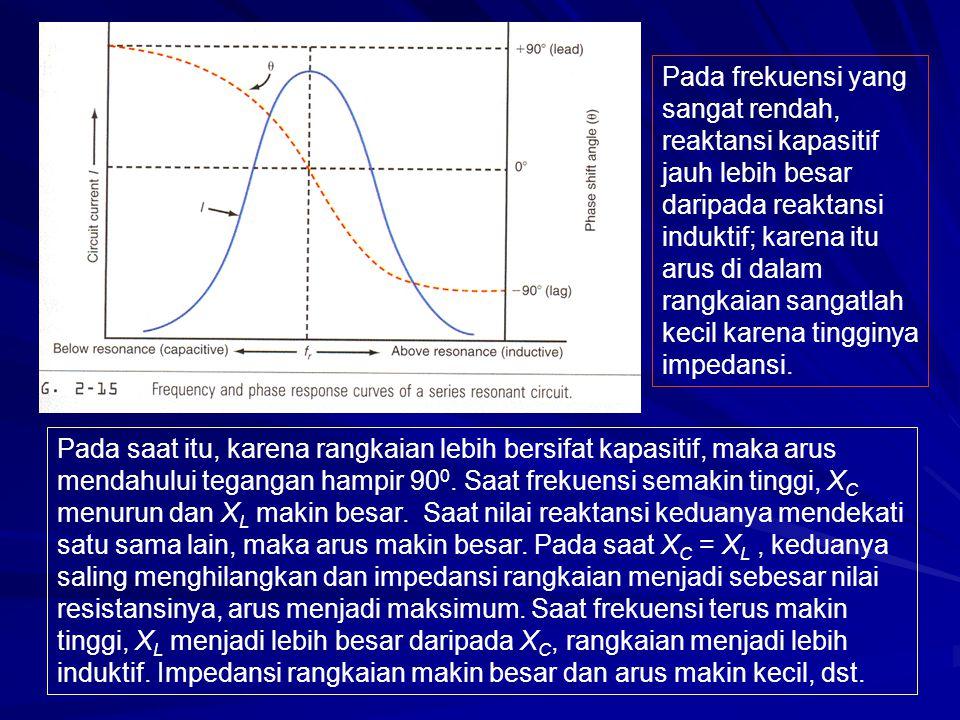 Pada frekuensi yang sangat rendah, reaktansi kapasitif jauh lebih besar daripada reaktansi induktif; karena itu arus di dalam rangkaian sangatlah kecil karena tingginya impedansi.