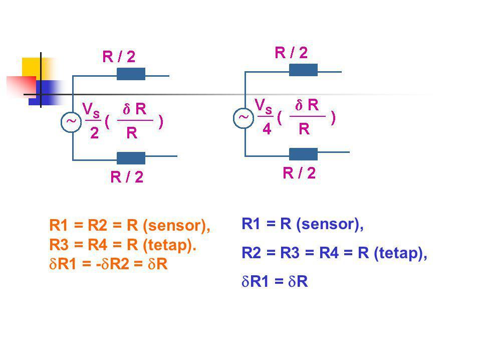 R1 = R2 = R (sensor), R3 = R4 = R (tetap). R1 = -R2 = R