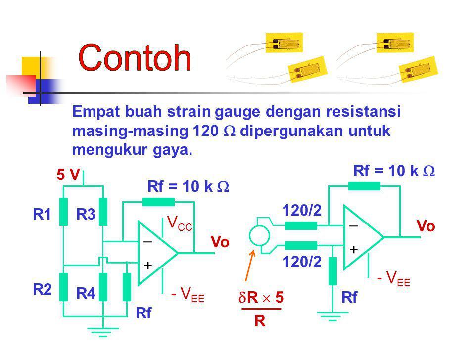 Contoh Empat buah strain gauge dengan resistansi masing-masing 120  dipergunakan untuk mengukur gaya.