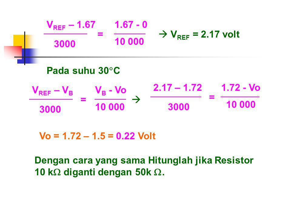 VREF – 1.67 1.67 - 0. 3000. 10 000. =  VREF = 2.17 volt. Pada suhu 30C. 2.17 – 1.72. 1.72 - Vo.