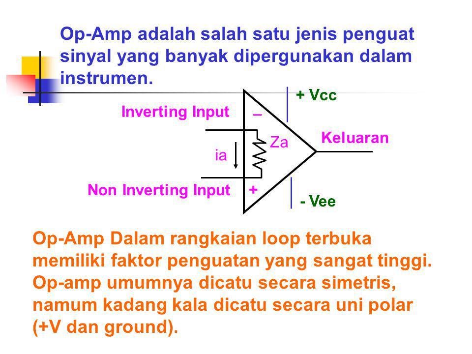 Op-Amp adalah salah satu jenis penguat sinyal yang banyak dipergunakan dalam instrumen.