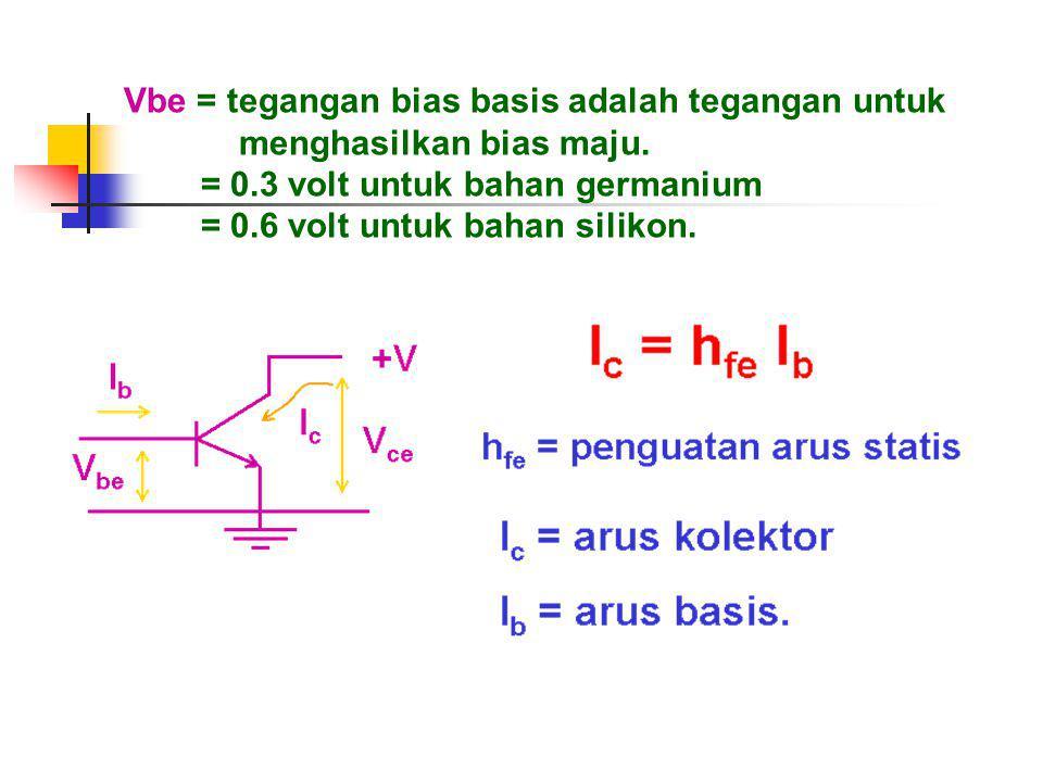 Vbe = tegangan bias basis adalah tegangan untuk