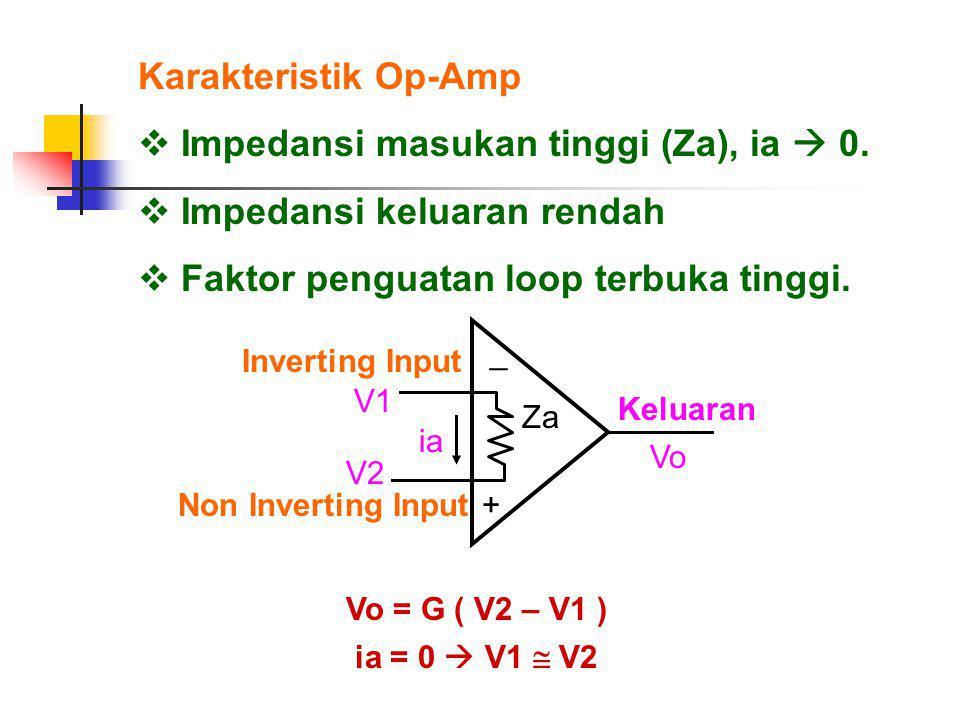 Impedansi masukan tinggi (Za), ia  0. Impedansi keluaran rendah