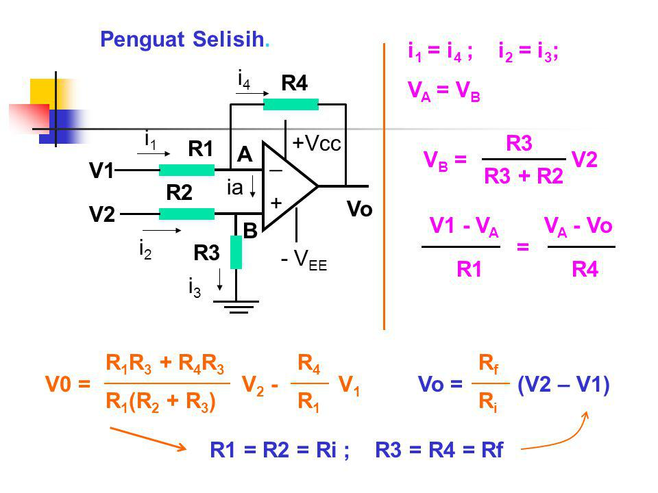 Penguat Selisih. i1 = i4 ; i2 = i3; VA = VB. Vo. + _. +Vcc. - VEE. V1. ia. A. B. R1. i1.