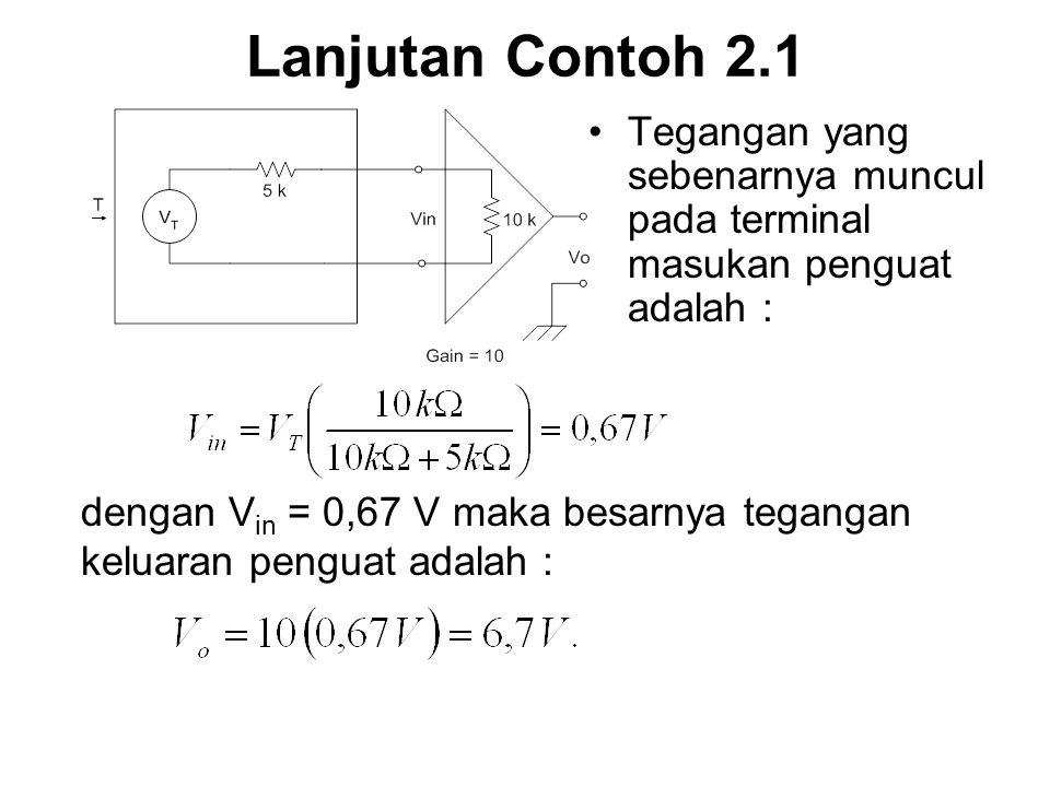 Lanjutan Contoh 2.1 Tegangan yang sebenarnya muncul pada terminal masukan penguat adalah :