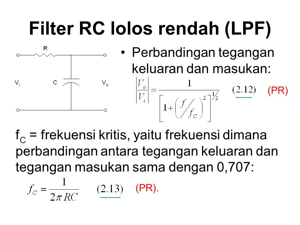 Filter RC lolos rendah (LPF)
