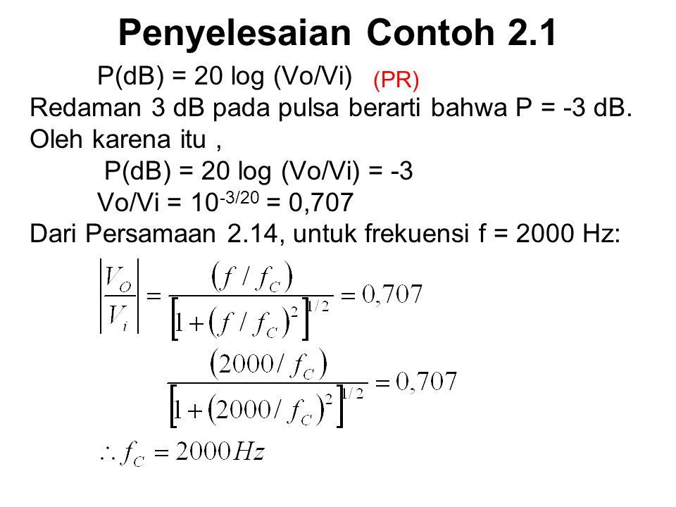 Penyelesaian Contoh 2.1 P(dB) = 20 log (Vo/Vi)