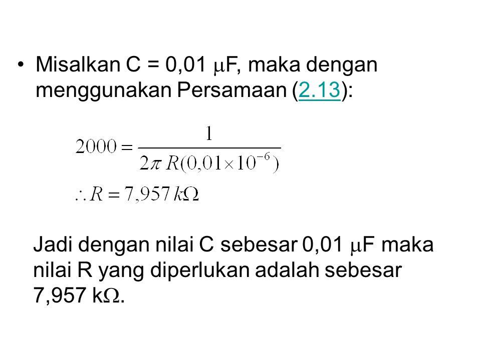 Misalkan C = 0,01 mF, maka dengan menggunakan Persamaan (2.13):