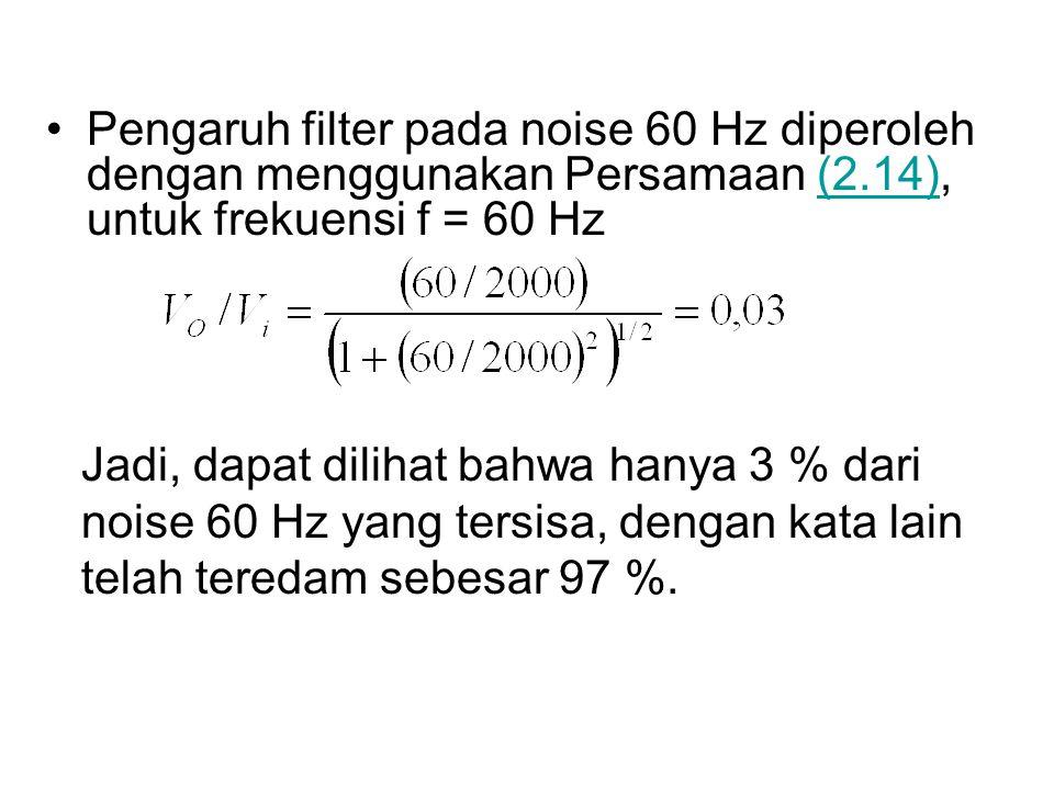 Pengaruh filter pada noise 60 Hz diperoleh dengan menggunakan Persamaan (2.14), untuk frekuensi f = 60 Hz