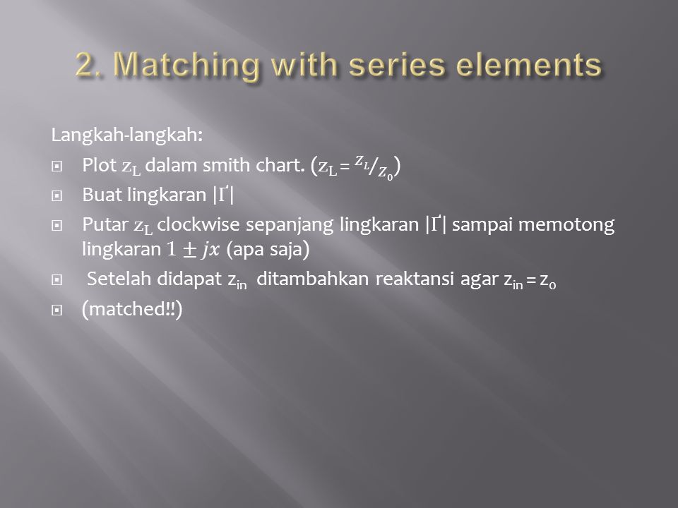 2. Matching with series elements