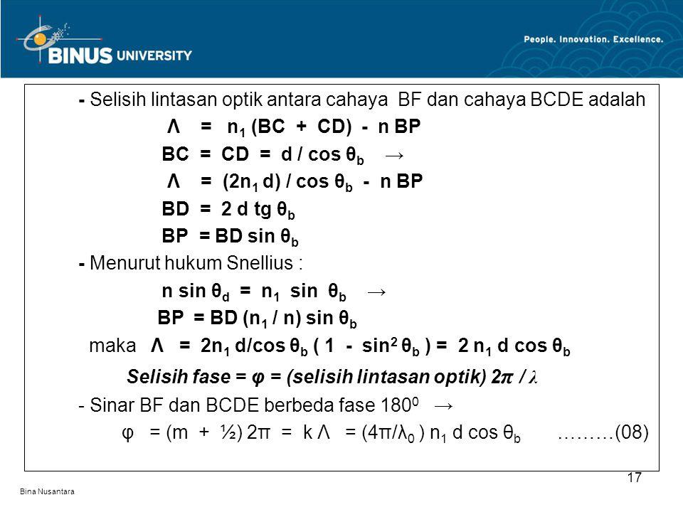 - Selisih lintasan optik antara cahaya BF dan cahaya BCDE adalah