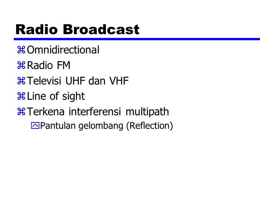 Radio Broadcast Omnidirectional Radio FM Televisi UHF dan VHF