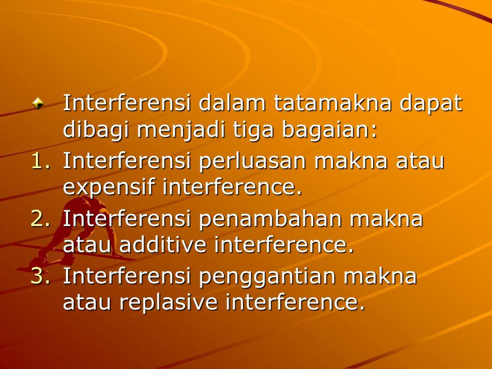 Interferensi dalam tatamakna dapat dibagi menjadi tiga bagaian: