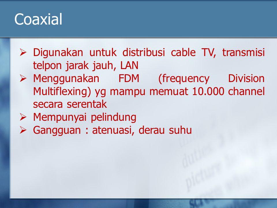 Coaxial Digunakan untuk distribusi cable TV, transmisi telpon jarak jauh, LAN.