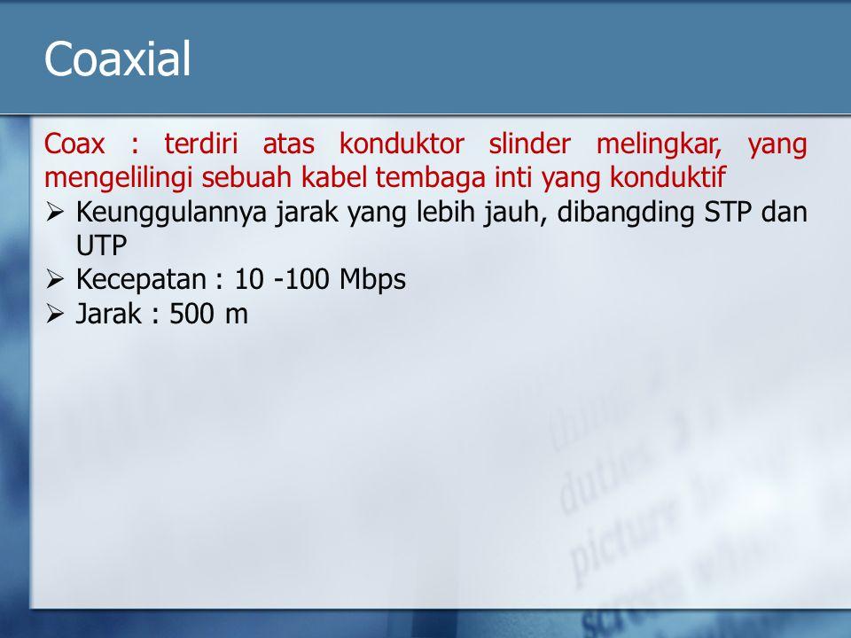 Coaxial Coax : terdiri atas konduktor slinder melingkar, yang mengelilingi sebuah kabel tembaga inti yang konduktif.
