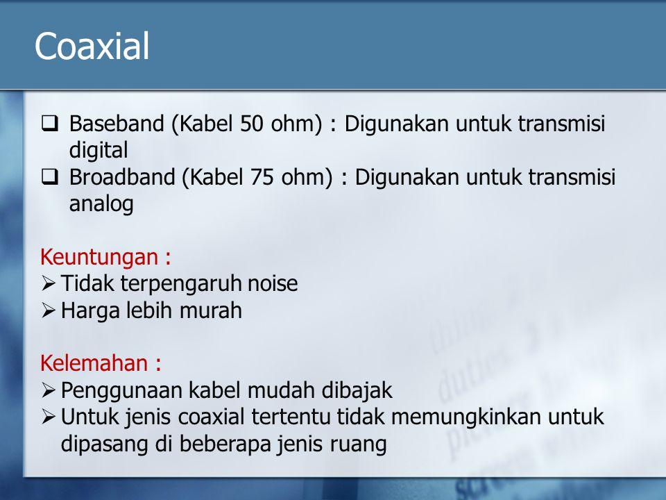 Coaxial Baseband (Kabel 50 ohm) : Digunakan untuk transmisi digital
