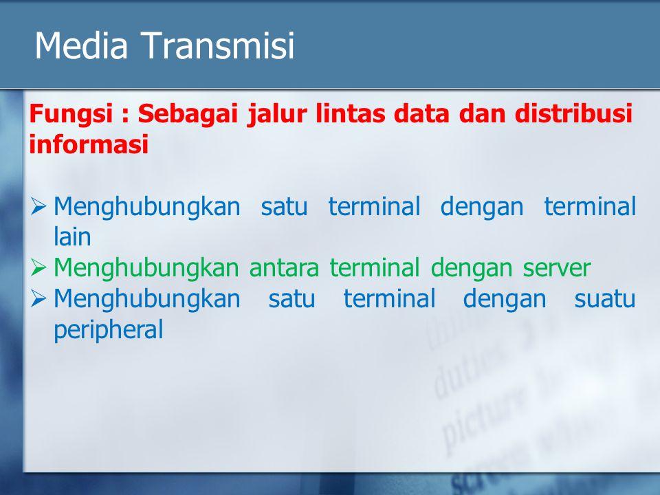 Media Transmisi Fungsi : Sebagai jalur lintas data dan distribusi informasi. Menghubungkan satu terminal dengan terminal lain.