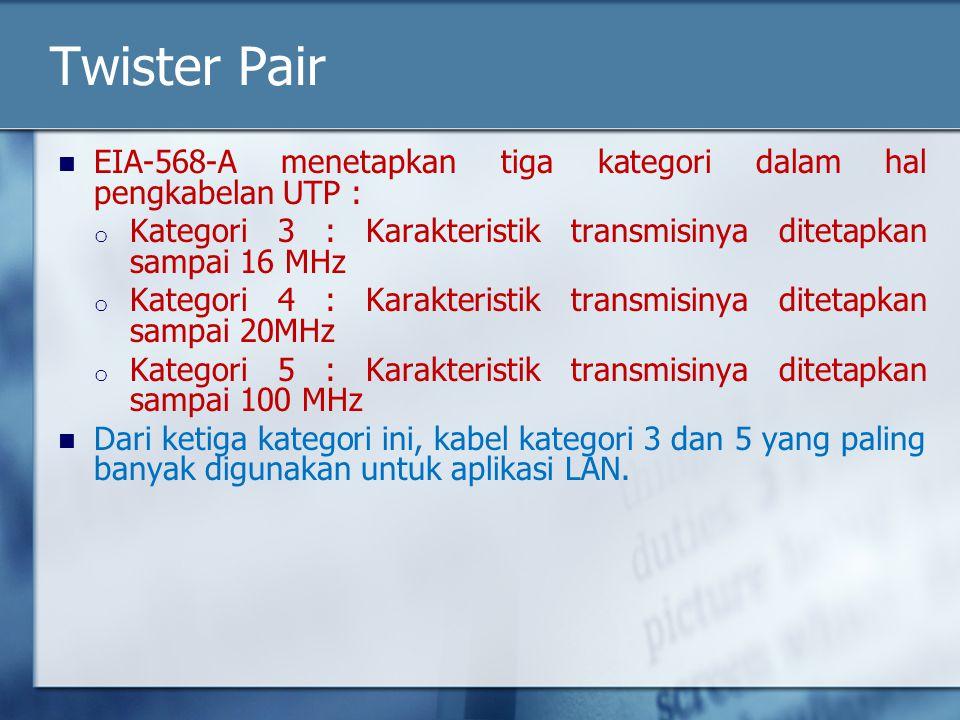 Twister Pair EIA-568-A menetapkan tiga kategori dalam hal pengkabelan UTP : Kategori 3 : Karakteristik transmisinya ditetapkan sampai 16 MHz.