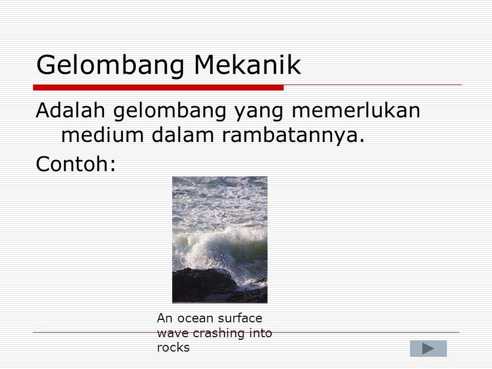 Gelombang Mekanik Adalah gelombang yang memerlukan medium dalam rambatannya.