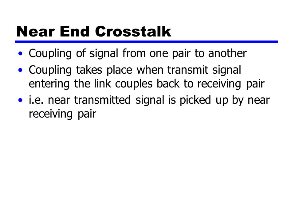 Near End Crosstalk Coupling of signal from one pair to another