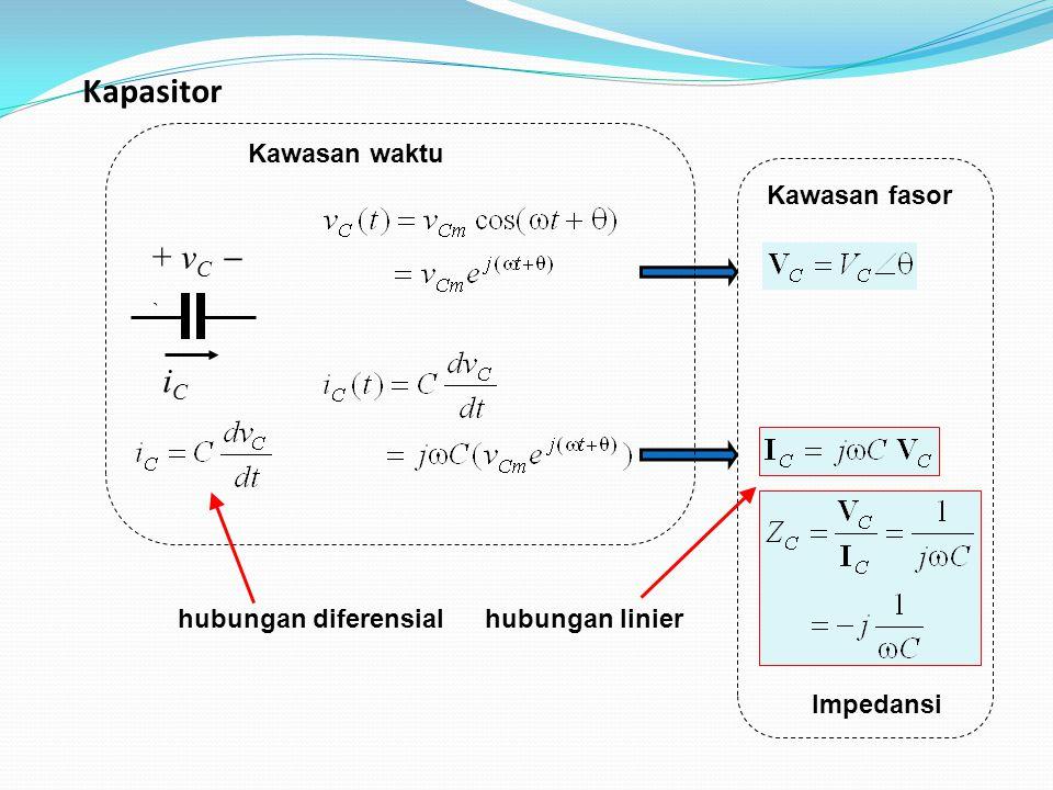 Kapasitor + vC  ` iC Kawasan waktu Kawasan fasor hubungan diferensial