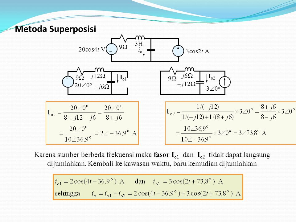 Metoda Superposisi 20cos4t V. + _. 9 3cos2t A. io. 3H. 200o. + _. 9  j6 Io1. j12