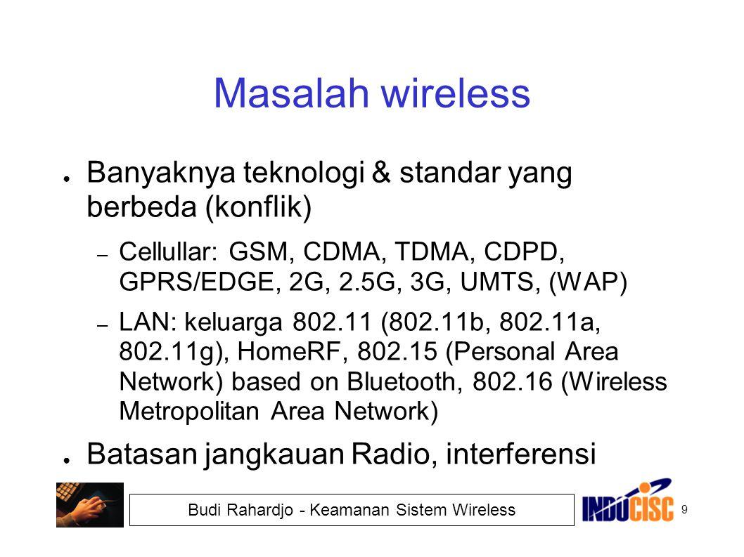 Masalah wireless Banyaknya teknologi & standar yang berbeda (konflik)
