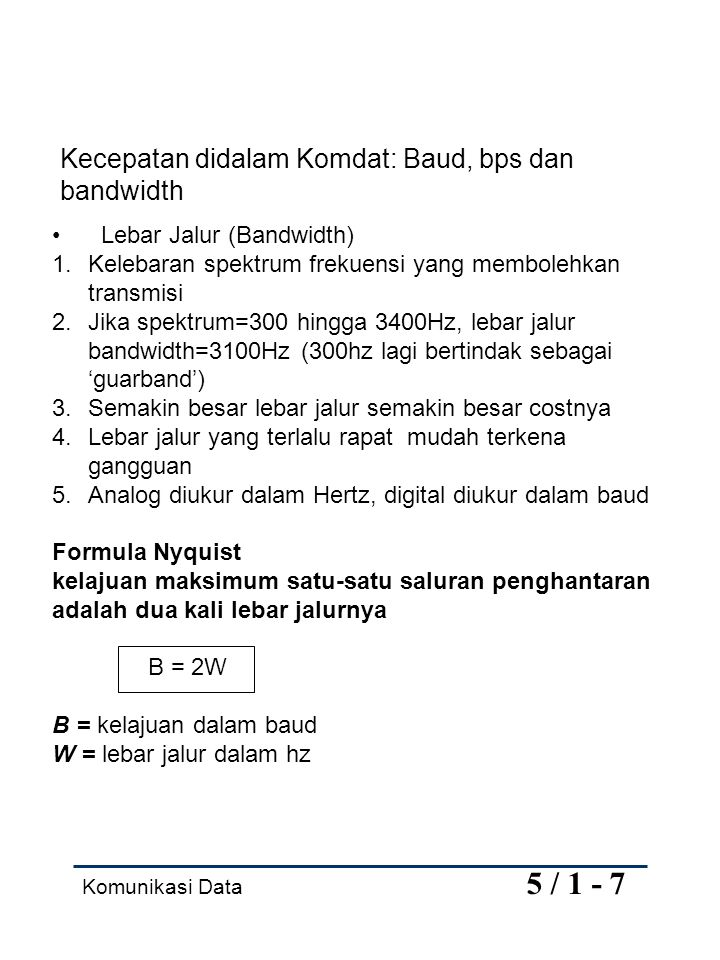 Kecepatan didalam Komdat: Baud, bps dan bandwidth