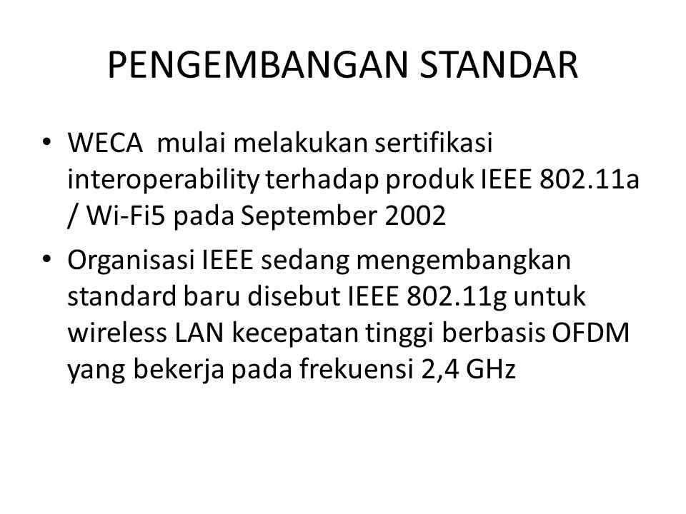PENGEMBANGAN STANDAR WECA mulai melakukan sertifikasi interoperability terhadap produk IEEE 802.11a / Wi-Fi5 pada September 2002.
