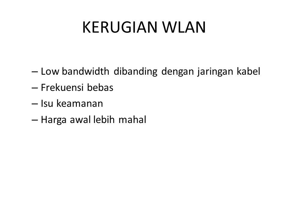 KERUGIAN WLAN Low bandwidth dibanding dengan jaringan kabel