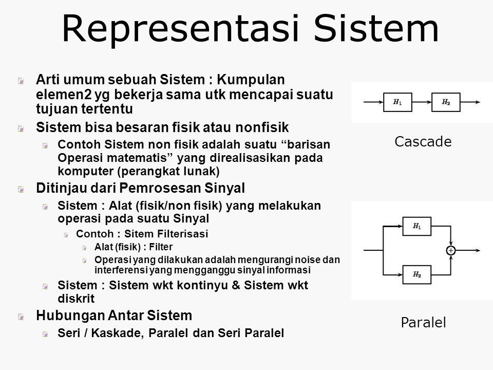 Representasi Sistem Arti umum sebuah Sistem : Kumpulan elemen2 yg bekerja sama utk mencapai suatu tujuan tertentu.