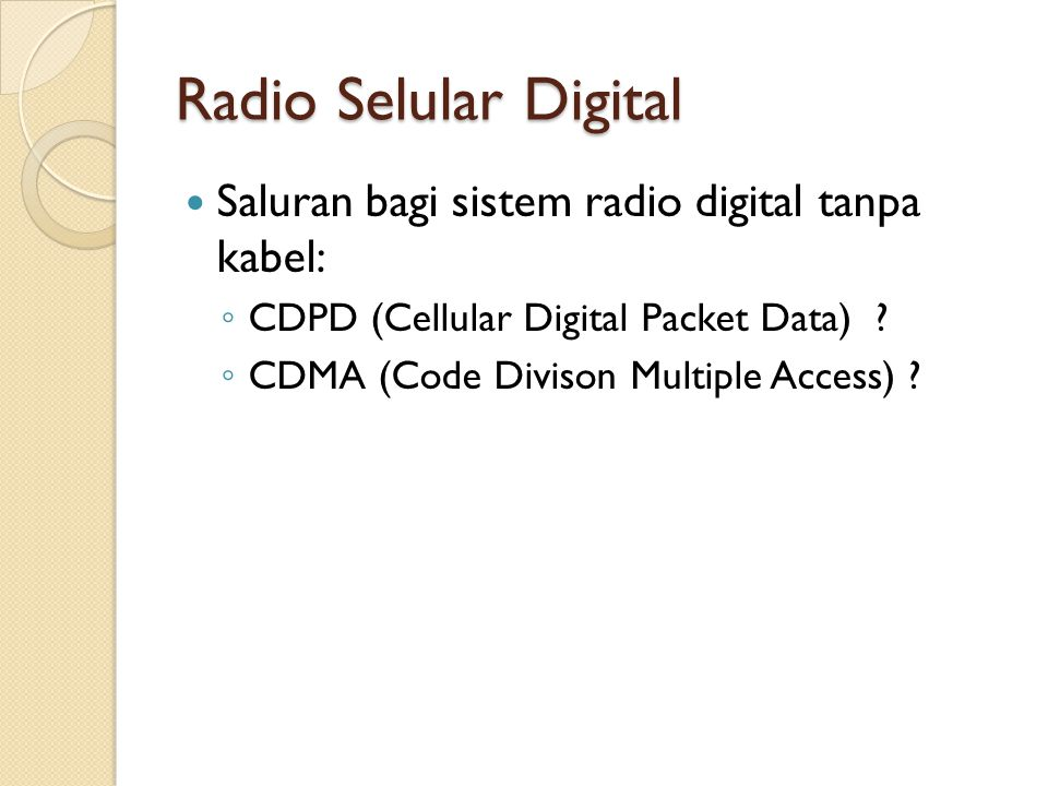 Radio Selular Digital Saluran bagi sistem radio digital tanpa kabel: