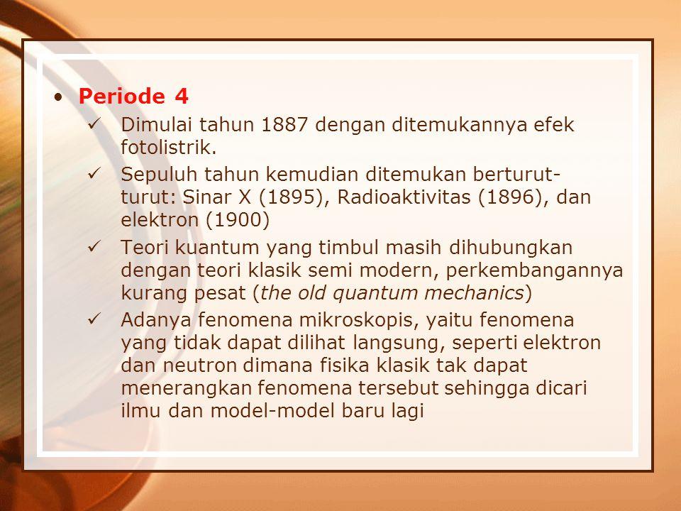 Periode 4 Dimulai tahun 1887 dengan ditemukannya efek fotolistrik.
