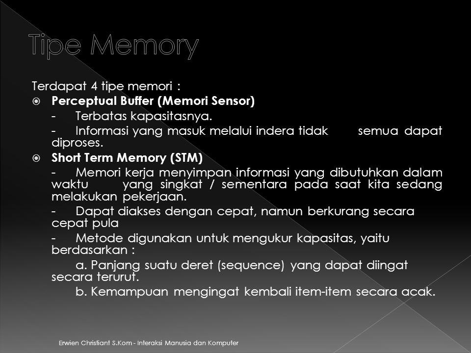 Tipe Memory Terdapat 4 tipe memori : Perceptual Buffer (Memori Sensor)