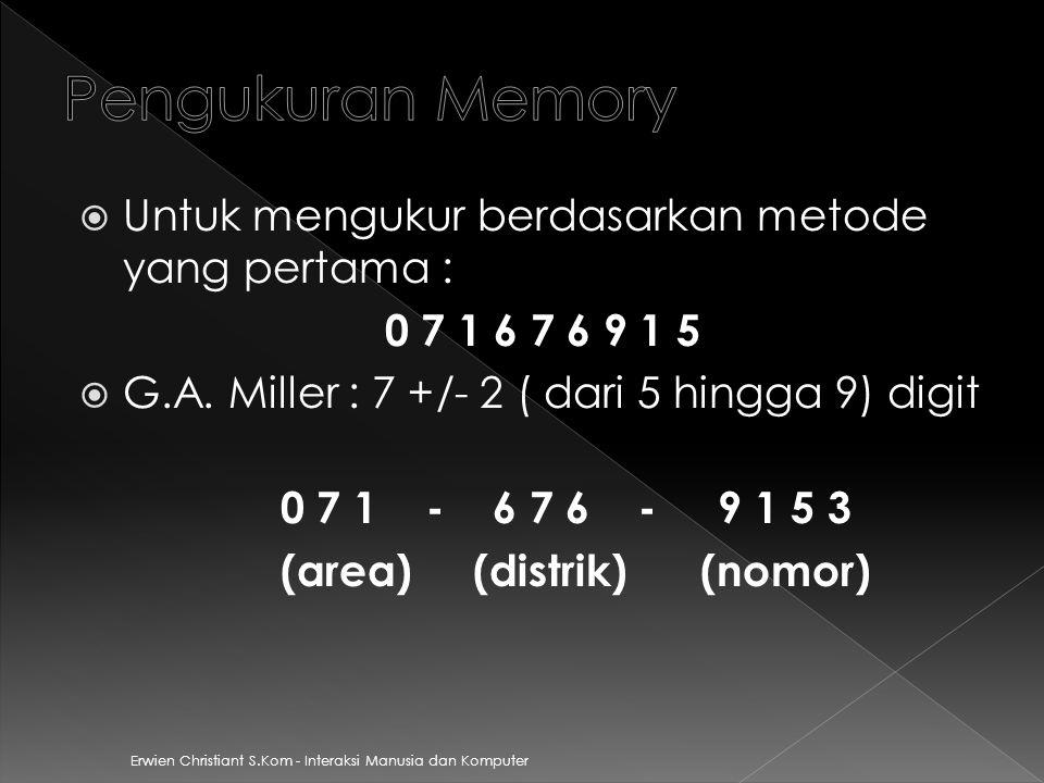Pengukuran Memory Untuk mengukur berdasarkan metode yang pertama :