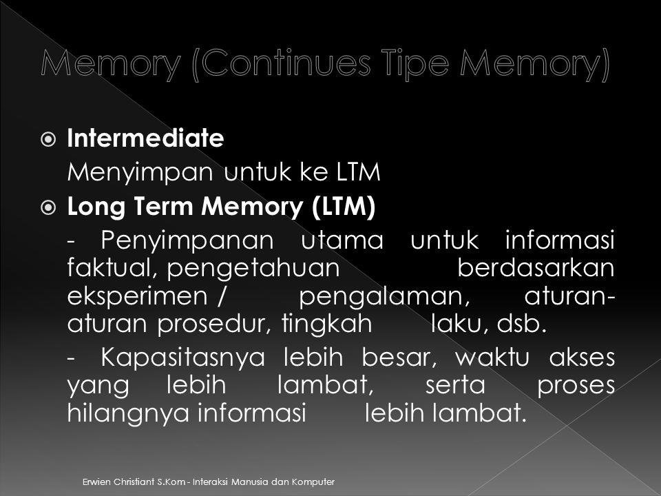 Memory (Continues Tipe Memory)