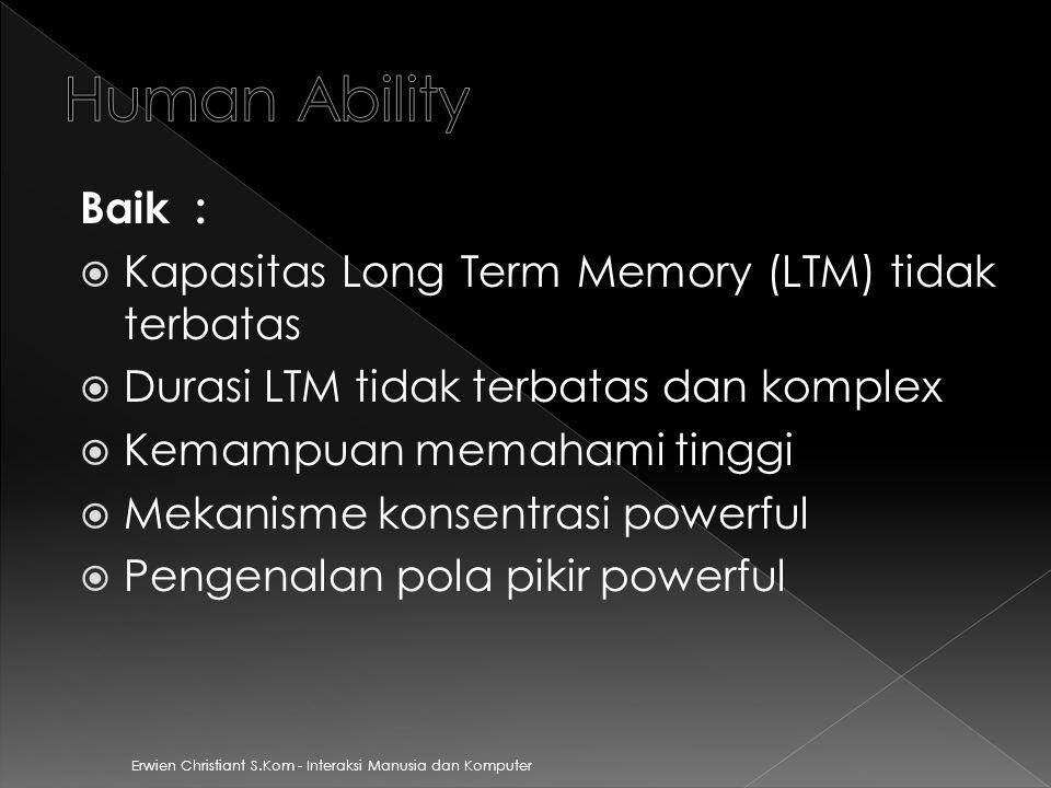 Human Ability Baik : Kapasitas Long Term Memory (LTM) tidak terbatas