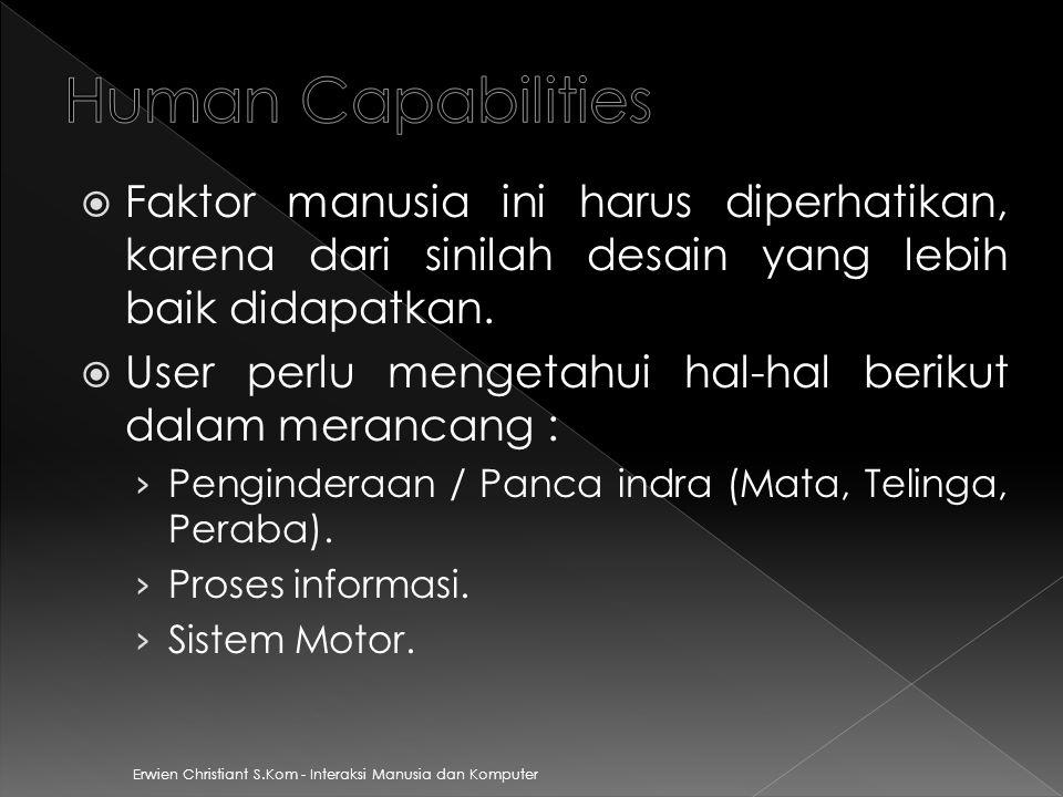 Human Capabilities Faktor manusia ini harus diperhatikan, karena dari sinilah desain yang lebih baik didapatkan.