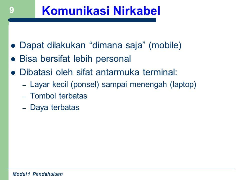 Komunikasi Nirkabel Dapat dilakukan dimana saja (mobile)