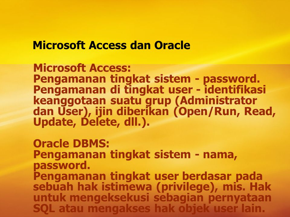 Microsoft Access dan Oracle