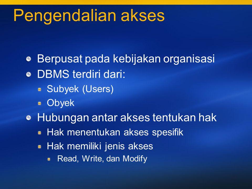 Pengendalian akses Berpusat pada kebijakan organisasi