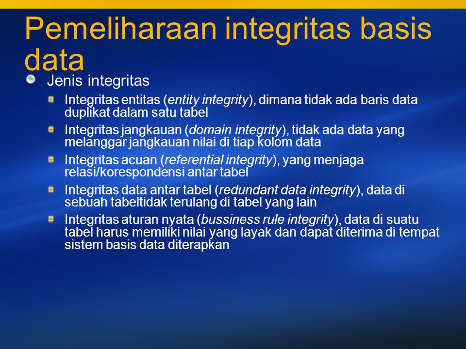 Pemeliharaan integritas basis data