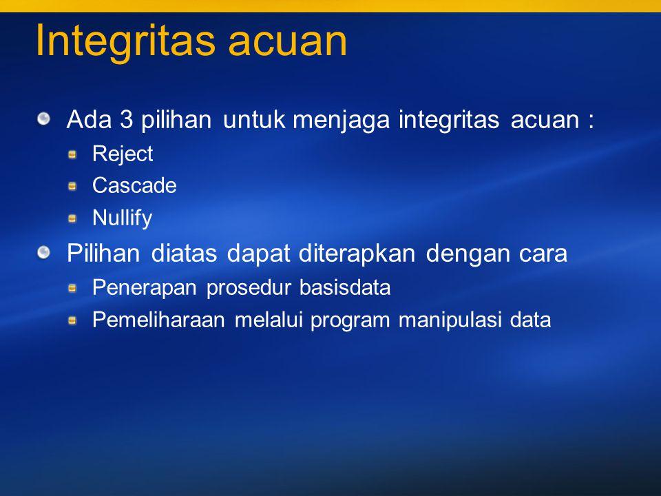 Integritas acuan Ada 3 pilihan untuk menjaga integritas acuan :
