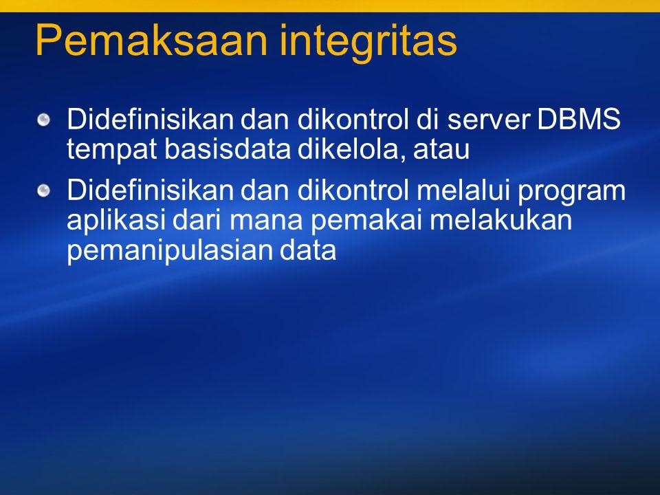 Pemaksaan integritas Didefinisikan dan dikontrol di server DBMS tempat basisdata dikelola, atau.